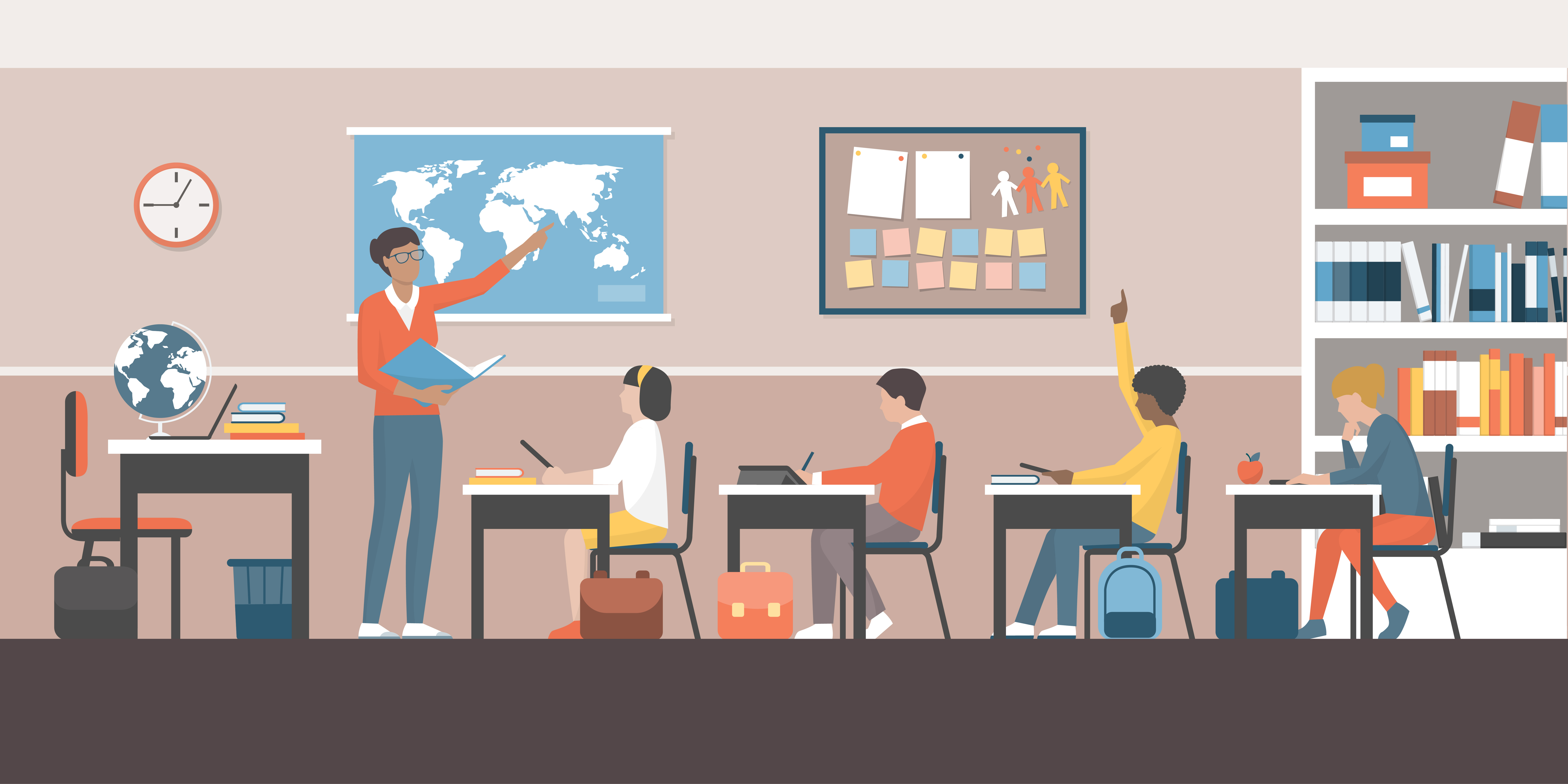 Teacher and students classroom